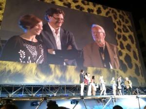 Licínio Azevedo, Realizador, no palco do Festival de Cinema de Locarno